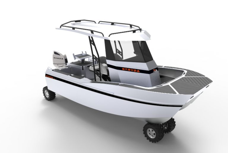 ISO Front View - amphibious boat, centre console